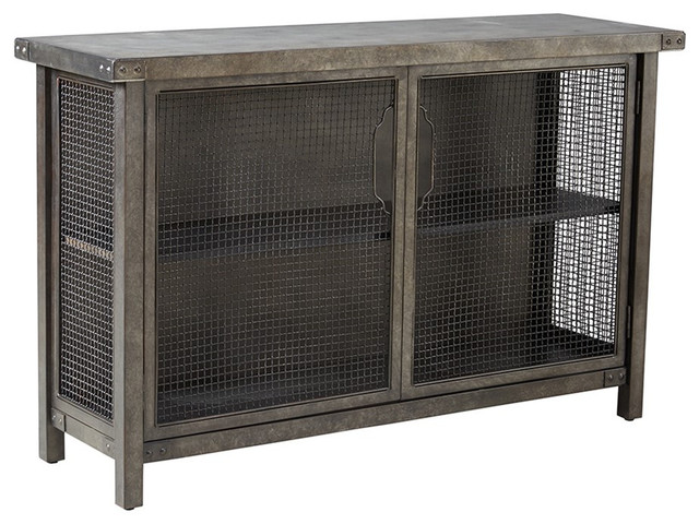 Captivating Industrial Rustic Metal Wire Mesh Sideboard Buffet Console Table Industrial  Buffets And Sideboards