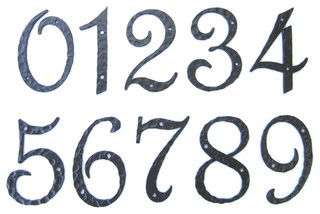 Rustic spanish style hammered wrought iron address number for Mediterranean house numbers