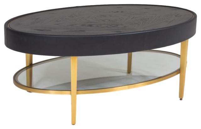 Modern Oval Black Leather Metal Coffee Table Ellipse Gold Round Minimalist Contemporary Coffee Tables By My Swanky Home