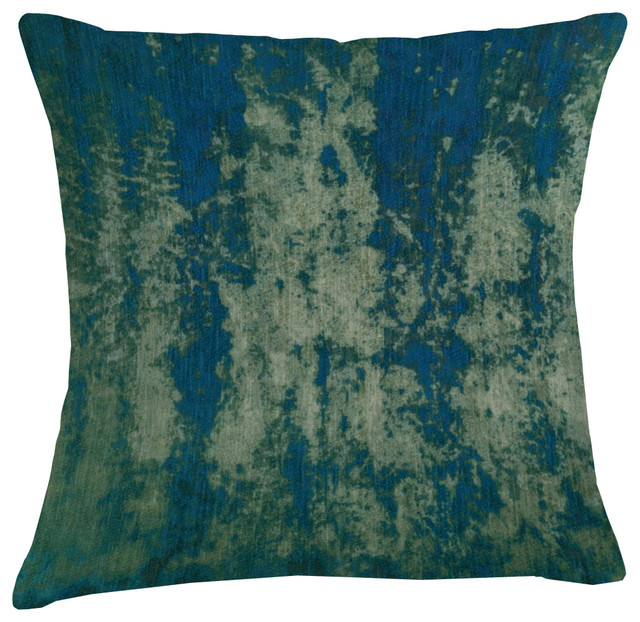 Mineral Velvet Cushion, Blue and Pale Green