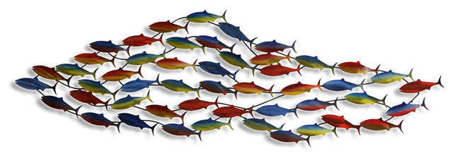 School Of Fish Multi Colored Wall Sculpture