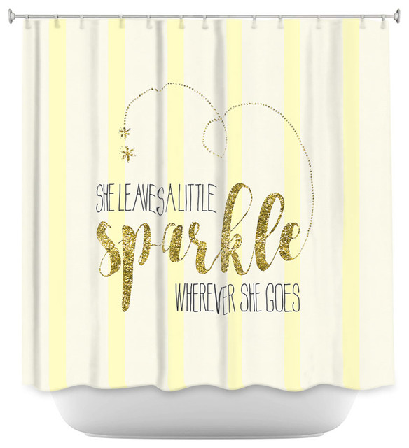 DiaNoche Designs Shower Curtain By Zara Martina She Sparkles Stripe Yellow Gold Contemporary