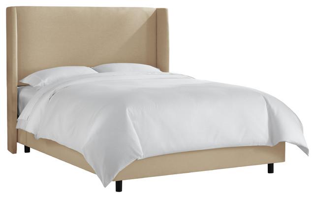 Wingback Bed In Linen Sandstone, Full.