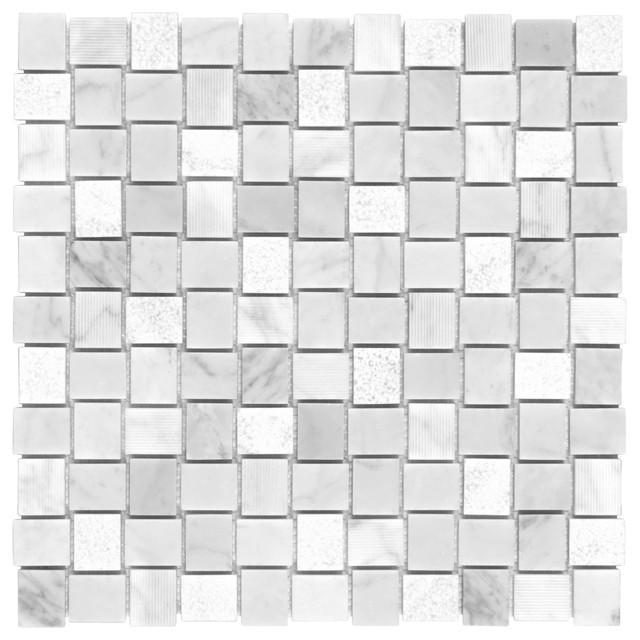 MTO0119 Modern Basket weave White Gray Honed Matte Etched Marble Mosaic Tile