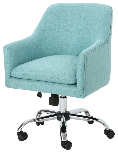 GDF Studio Morgan Fabric Home Office Chair with Chrome Base, Blue