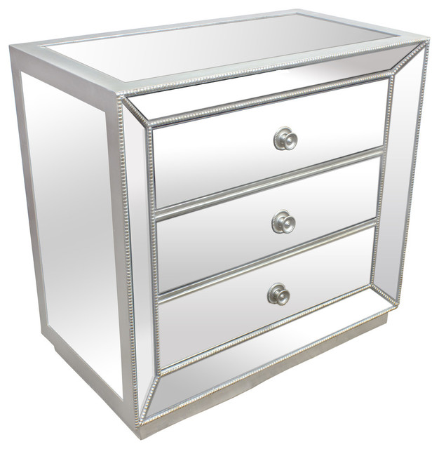 Silver Mirrored Glass Bedroom 3-Drawer Nightstand