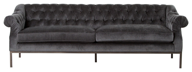 Awesome Damon Gray Velvet Rolled Arm Tufted Sofa Beutiful Home Inspiration Ommitmahrainfo