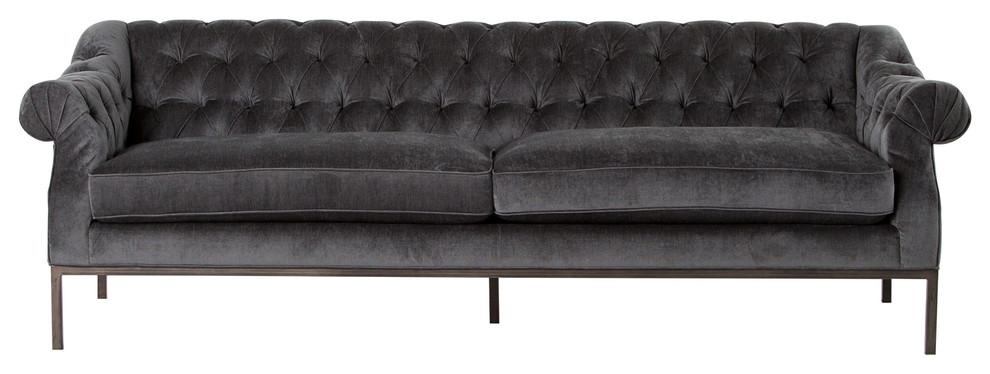 Damon Gray Velvet Rolled Arm Tufted Sofa Transitional Sofas By Zin Home