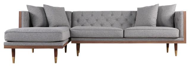 Kardiel Woodrow Neo Classic Sofa Sectional, Eames Gray/Walnut, Left Facing