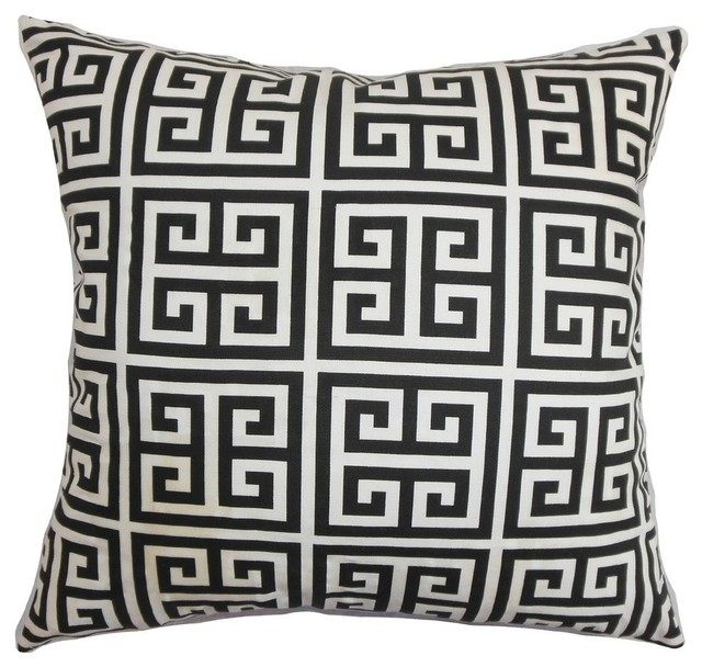 "Paros Greek Key Pillow Black White 20""x20"""