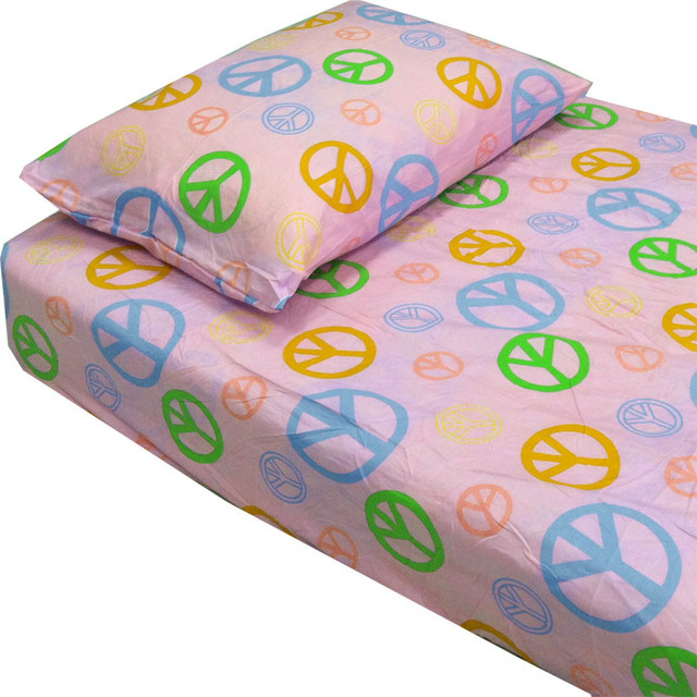 Exceptionnel Pink Peace Signs Hippie Bedding Twin Single Bed Sheets Set