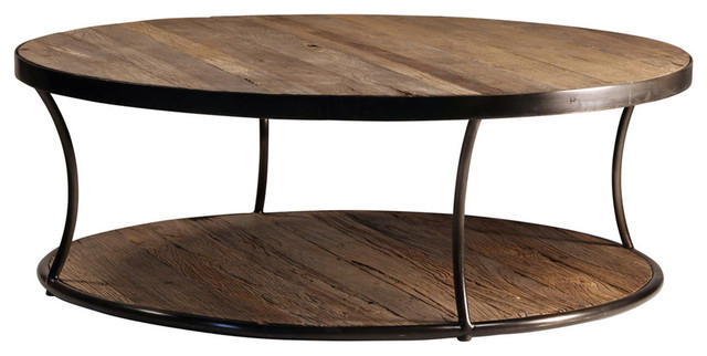 Round Wood And Iron Coffee Table Industrial Coffee Tables By Design Mix Furniture