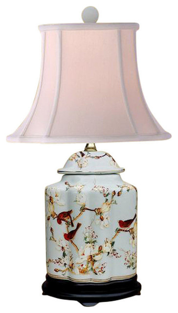 Oriental Chinese Porcelain Fl Bird Scallop Ginger Jar Table Lamp 22