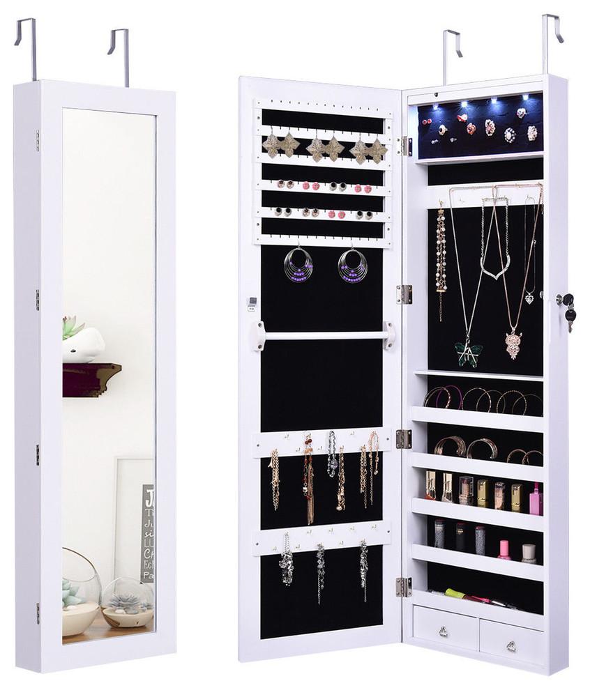 Costway Door Mount Mirrored Jewelry Cabinet Lockable ...
