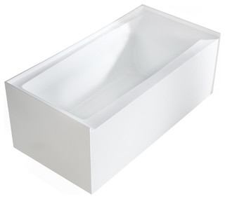 "Pensacola Acrylic Alcove Soaking Tub, White, 60"" - Modern - Bathtubs - by Maykke"