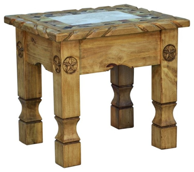 Cowboy End Table With Marble, Carved Rope Detail, Black Rustic Side Tables