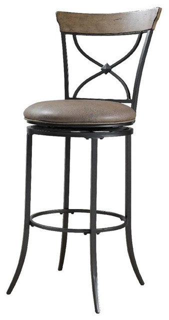"Hillsdale Charleston 26"" X-Back Swivel Counter Stool In Tan."