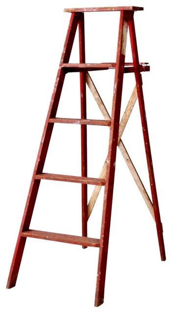 Brilliant Consigned Vintage Red Wood Ladder Ncnpc Chair Design For Home Ncnpcorg