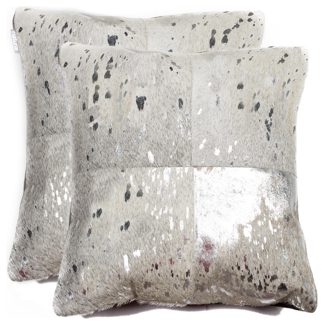 Torino Quatro Pillows, Set Of 2, Silver/gray, 18x18.
