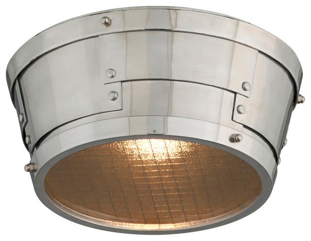 1-Light Led Bulb Flush Mount, Aviation Gray With Vintage Aluminum.