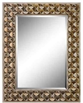 "Stein World Taber 43""x32"" Wall Mirror In Gold Geometric Pattern."