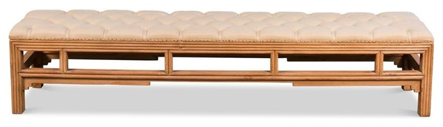 Halloway Bamboo Carved Bench. -1