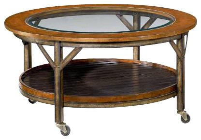 Hammary Mercantile Round Cocktail Table in Whiskey Industrial