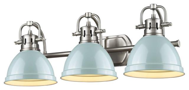 Duncan 3-Light Bath Vanity, Pewter With Seafoam Shade