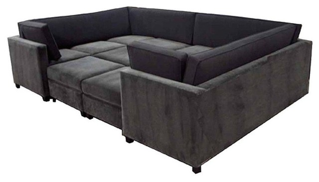 7 Piece Modern Wrap Around Sectional, Cream, Espresso Leg Finish