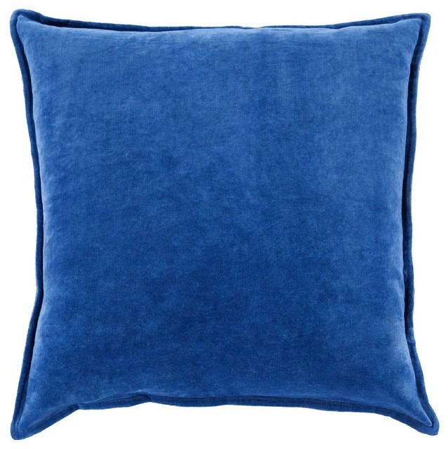 "Solid/striped Cotton Velvet Pillow, Cobalt Blue, Down Filler Square 22""."