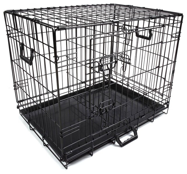 2 Door Foldable Metal Wire Tray Divider Pet Crate Contemporary