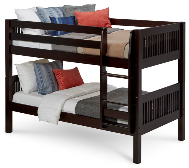 Camaflexi Twin, Low Bunk Bed, Mission Headboard, Cappuccino.