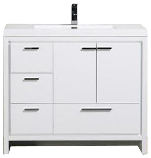 Clarno Vanity, Gloss White, Left Drawer