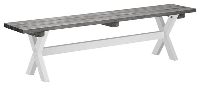 Shabby Chic Bench, White and Grey