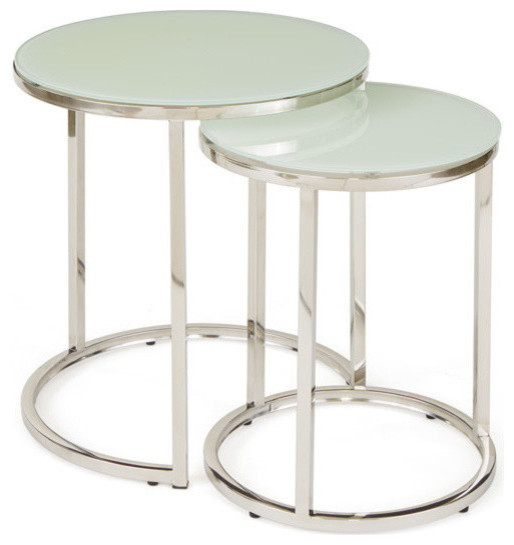 White Glass Nesting Tables Contemporary Coffee Table Sets