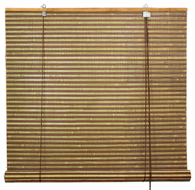 "Burnt Bamboo Roll Up Blinds, Multi-Color, 60""x72""."