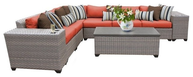 Florence Patio Wicker Sectional, Tangerine, 9-Piece Set.