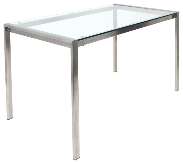 LumiSource Fuji Dining Table, Stainless Steel With Clear Glass Top