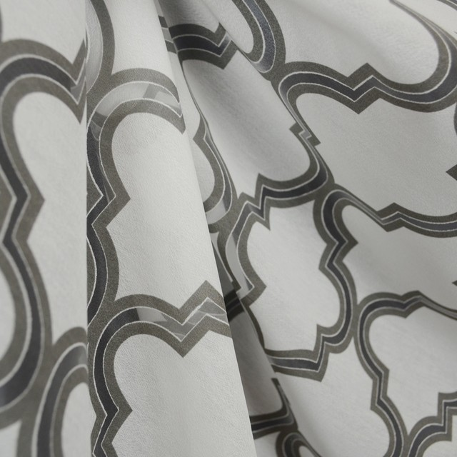 Trellis Fabric penrose silver white sheer trellis fabric - traditional - drapery