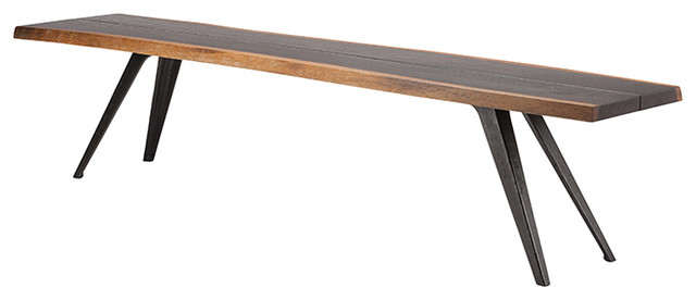 Superieur Raine Rustic Lodge Oak Black Dining Bench, 75W