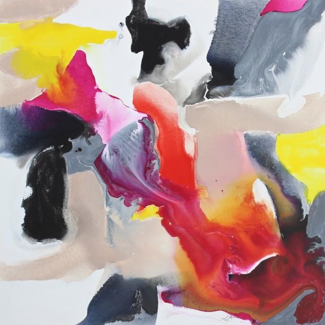 Zatista Quot Pink Grey And Yellow Bleed No 2 Quot Original Art
