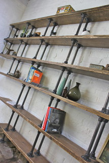 Emilie Asymmetric Reclaimed Scaffolding Boards and Dark Steel Pipe Shelves