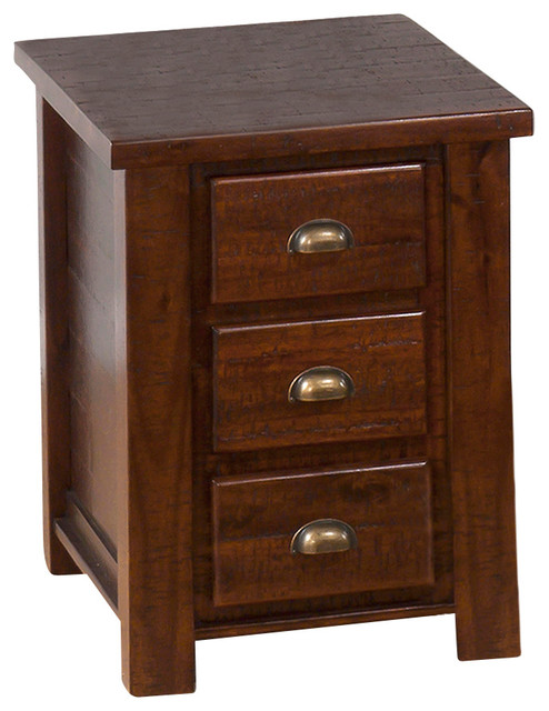 Jofran 7318 Urban Lodge Chairside Table with 3 Drawers in Brown