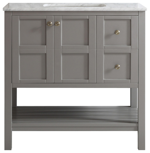 """Florence Single Vanity, Gray, Without Mirror, 36"""""""