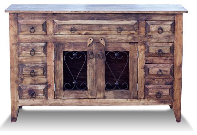 Rustic Style Bathroom Vanities rustic bathroom vanity with ornate metal doors (45009) - farmhouse