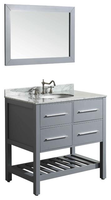 "36"" Single Vanity With White Carrara Top Gray"