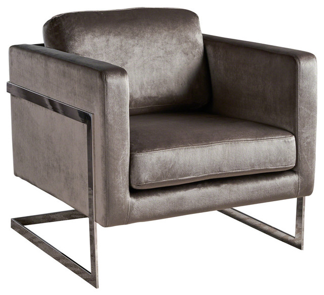 Gdf Studio Catherine Modern New Velvet Club Chair With Stainless