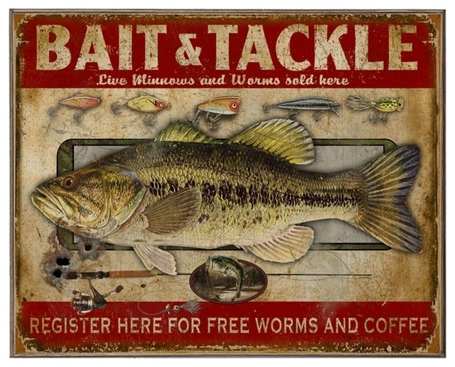 Bait And Tackle, Classic Metal Sign.