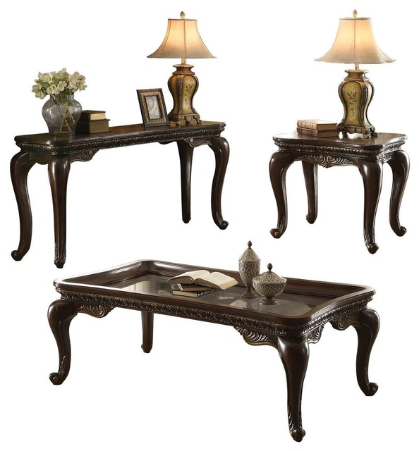 3 Piece Bautistia Country Occasional Set Tail Table End Sofa Cherry Victorian Coffee Sets By Amoc