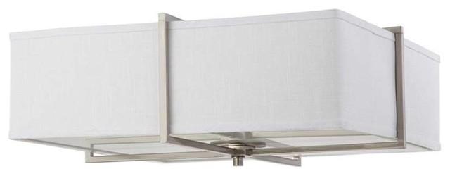 nuvo lighting logan large square flush with fabric shade brushed nickel - Nuvo Lighting